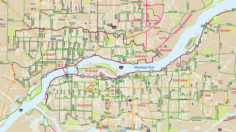 quad cities iowa map New Updated Quad Cities Bike Map Available Ride Illinois Ride Illinois quad cities iowa map